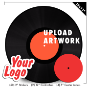 """Upload artwork for (2) 12"""" Controllers (4) 5"""" center labels and (50) 2"""" stickers"""